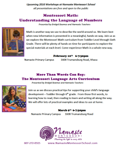 Montessori Math Namaste Montessori School Offers Toddler Primary